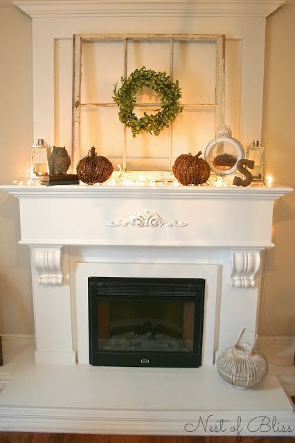 Fall Fireplace Mantel - I would love to do my fireplace over like this with the upper back