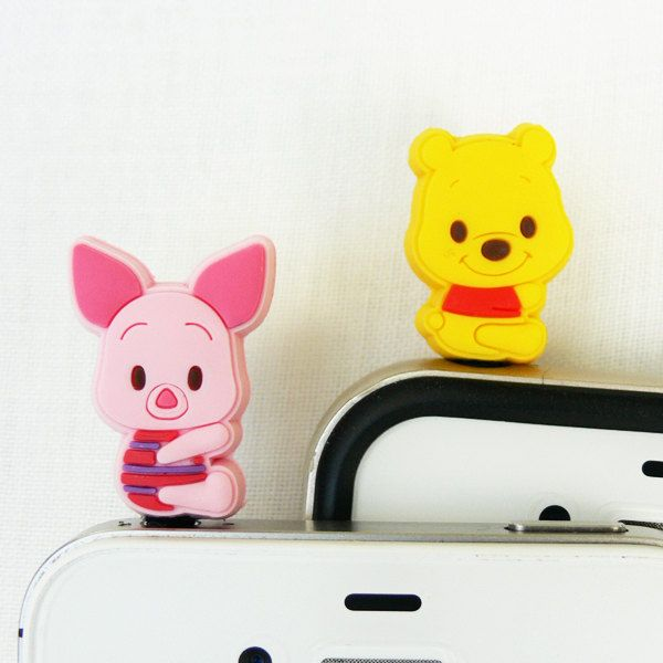 Winnie the Pooh Friends 2 for 1 price - Cell Phone Dust Plug. $12.00, via Etsy.