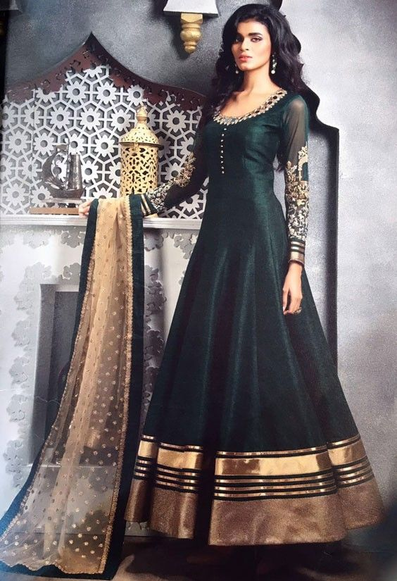 Picturesque Pine Green Anarkali Suit