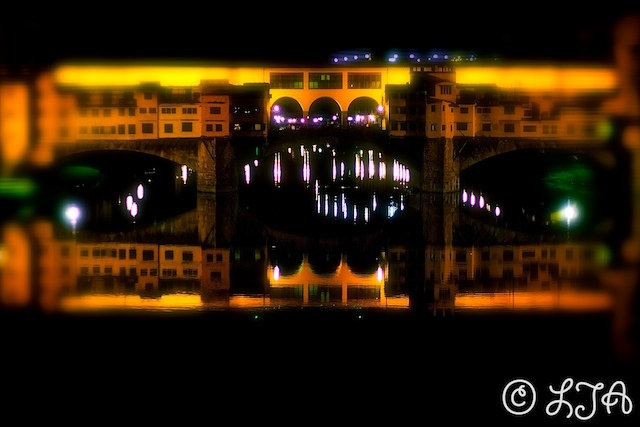 Ponte Vecchio reflected  Florence  colourful by LJAPhotography, $30.00  A bit of a surreal take on the famous bridge of antiquities .