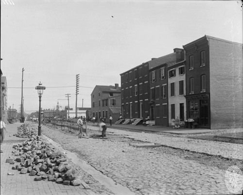 China Street in Baltimore.  Was adjacent to the historic Camden Yards Railway tracks. China Street ran south from Lee Street, and was situated between Warner and Eutaw Streets.  It also intersected with Hamburg Street.  Razed long ago, its location now is covered over by a stadium.