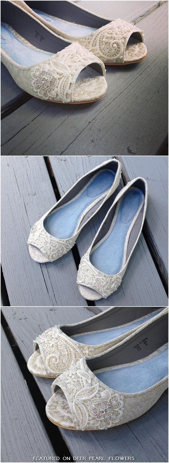 French Knotwork Lace Peep Toe Flats / http://www.deerpearlflowers.com/vintage-lace-wedding-shoes/3/