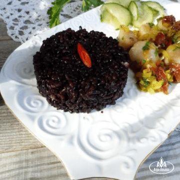 Черный рис с морскими гребешками