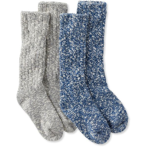 L.L.Bean Cotton Ragg Camp Socks,Two-Pack ($20) ❤ liked on Polyvore featuring intimates, hosiery, socks, cotton socks, sweat wicking socks, wicking socks, cotton hosiery and moisture wicking socks