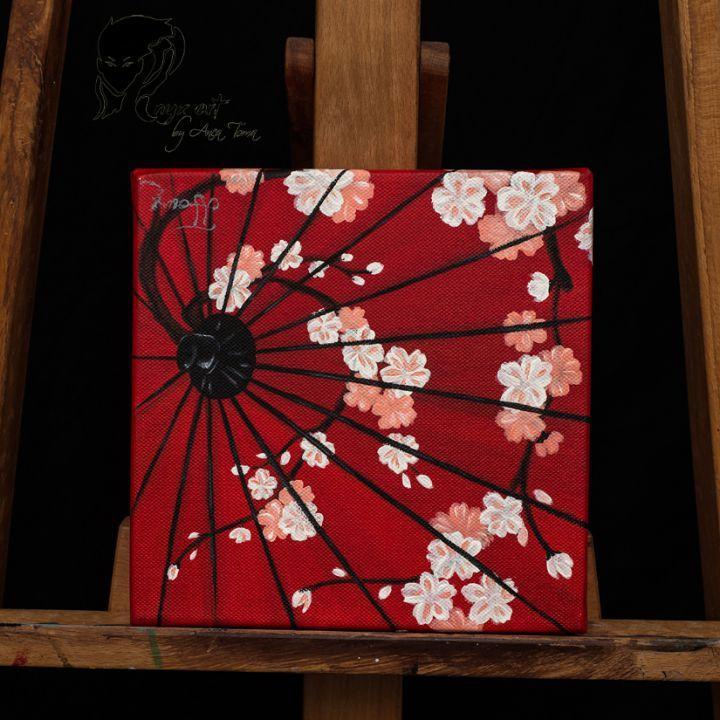 """Tablou pictat in acrilice """"Umbrela Japoneza"""""""