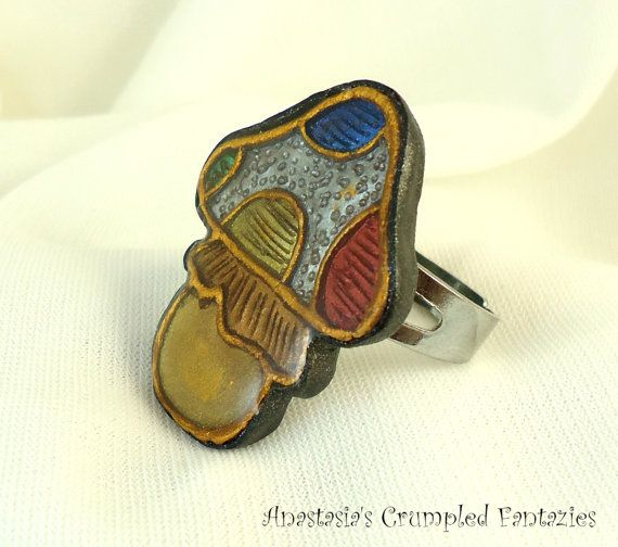 Rainbow white gold mushroom ring Red yellow by CrumpledFantazies