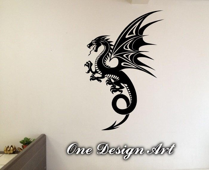 Dragon tribal wall decal vinyl decor home mural arts sticker beast flying tattoo Y153 by OneDesignArt on Etsy https://www.etsy.com/listing/250703194/dragon-tribal-wall-decal-vinyl-decor