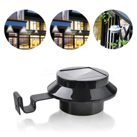 3 LED Solar Powered Outdoor Light Fence Yard Wall Gutter Pathway Light + Bracket Black - Blackwater River Emporium