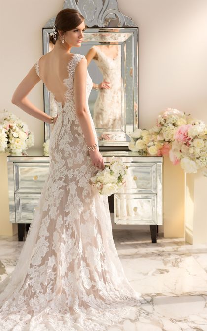 Essense of Australia's Lace over Lustre Satin modern vintage wedding dress features a scalloped Lace neckline and low back. (Style D1639)
