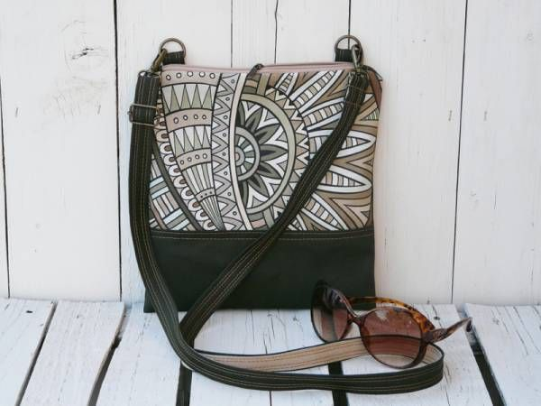 Handmade Canvas Crossbody Bag - Olive Green Flower Design