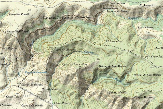 Mapa con las tres hoces de izquierda a derecha: la Hoz del Buey, la Hoz Chiquilla y la Hoz de San Miguel. La primera de ellas pertenece al termino de Palomera, y la Chiquilla y la de San Miguel pertenecen a Cuenca. MAGIA SERRANA: PALOMERA