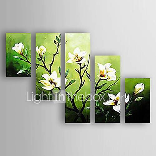 Pictat manual Floral/Botanic Orizontal,Abstract Modern/Contemporan O noua sosire Cinci Panouri Canava Hang-pictate pictură în ulei For 5947696 2017 – $97.59