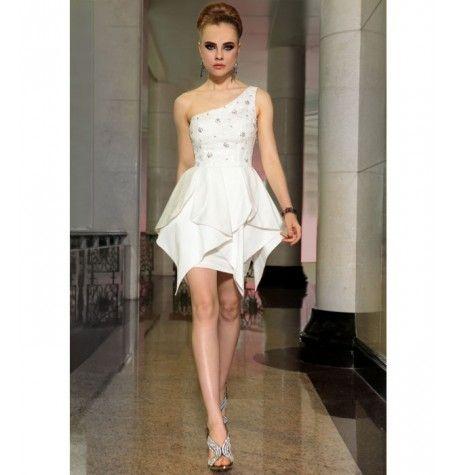 Short white satin dress by Belonda