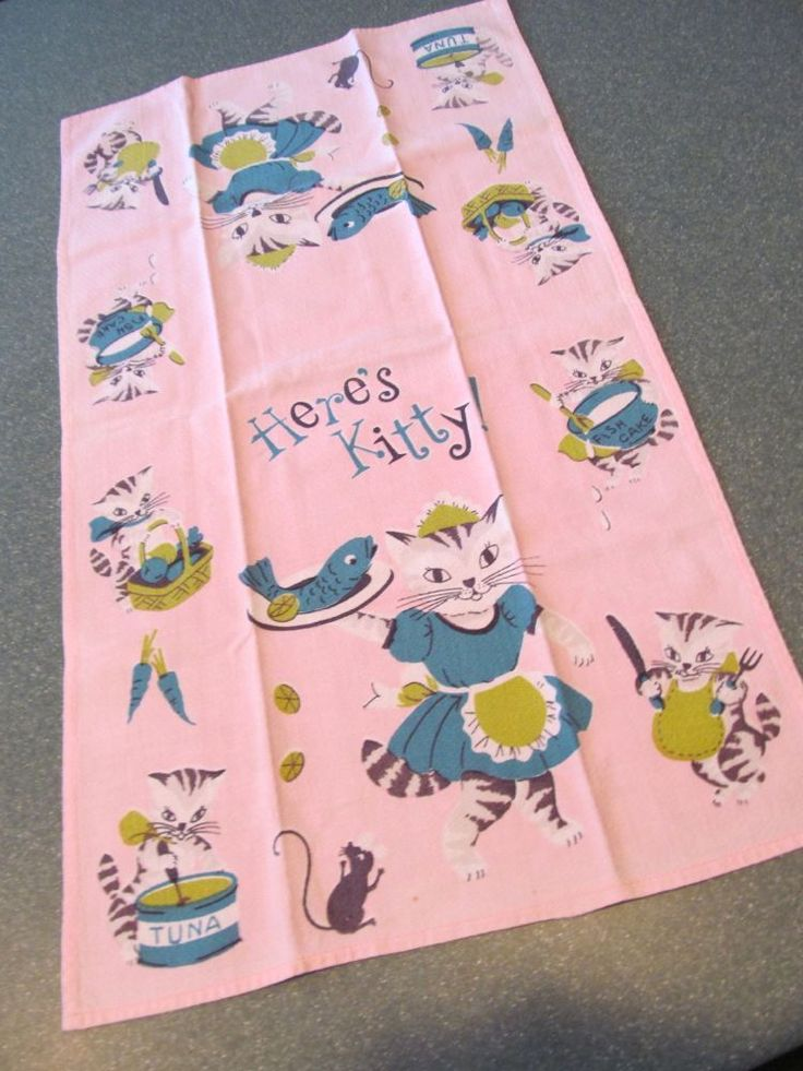 Vintage Kitchen/Tea Towel 40s Cotton Barkcloth Kitten Cat Pink