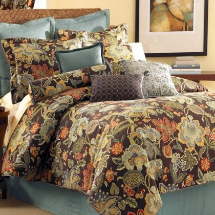 Rose Tree Audubon Brown Floral Comforter Set Home Decor