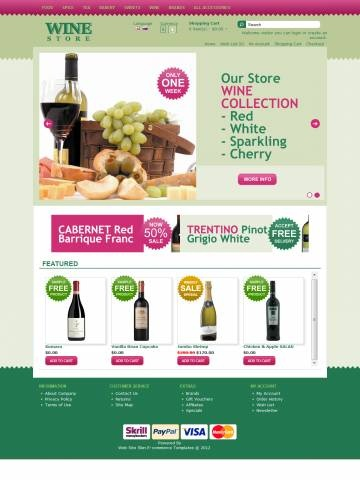 Wine Store OpenCart Theme Template is specially designed for Dessert`s Wines, Sherry & Port and other. Garmonical natural colors combination of magenta, grass and green is the best decorate for Red Cabernet, White, Rose Bubbly, Sherry and Port, Vermouth and Martinez. Modern zigzag border. It is very nice with its clean and professional look.