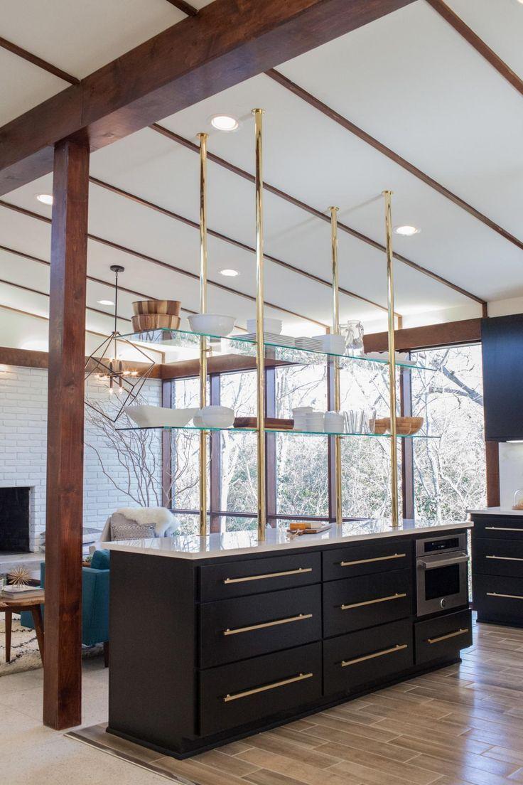 Floating brass shelves in midcentury modern kitchen
