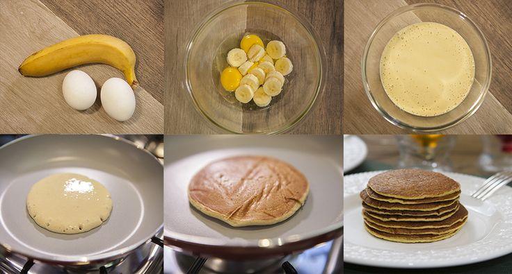 Panqueca sem farinha - Ingredientes 1 banana 2 ovos Modo de preparo Bata no liquidificador os ovos e a banana. Coloque uma concha de massa na frigideira apenas morna. Em fogo bem baixo, espere um minutinho e vire para assar do outro lado. Sirva com mel ou uma cobertura de sua preferência.