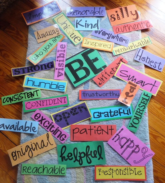 Beginning of the Year Theme - BE YOURSELF!! Love the words, and the idea of letting students think of a word to add!