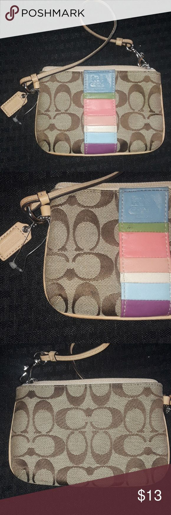 Coach Wristlet Brown with Colorful Design Coach Wristlet Used few times Purchased on TopHatter Coach Accessories Key & Card Holders
