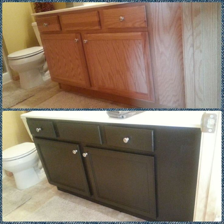 Spare bathroom vanity in behr espresso beans paint diy for Espresso bathroom ideas