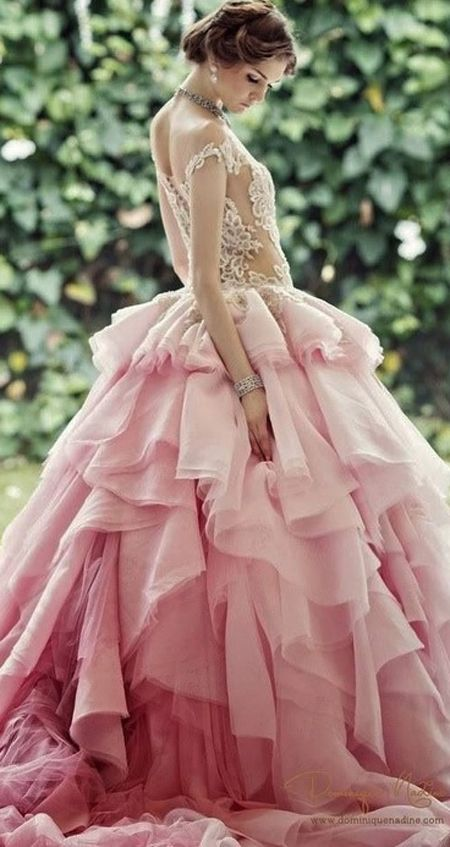 Pink wedding dresses for your wedding day | In White. http://inwhiteblog.com