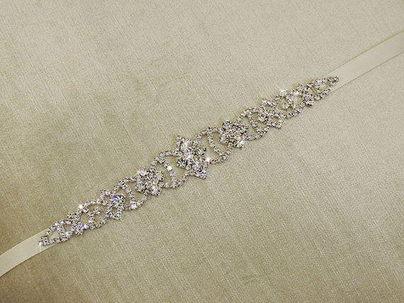 PARI - Wedding Dress Belt Sash, Gold Bridal Gown Rhinestone Belt Sash ,bridal sash , gold thin sash belt