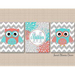 Owl Nursery Décor,Coral Teal Nursery Wall Art,Owl Nursery Wall Art,Coral Aqua Nursery Wall Art,Coral Owl,Teal Owl,Owl Floral Nursery,turquoise Nursery Art-UNFRAMED 3 PRINTS (NOT CANVAS)C212