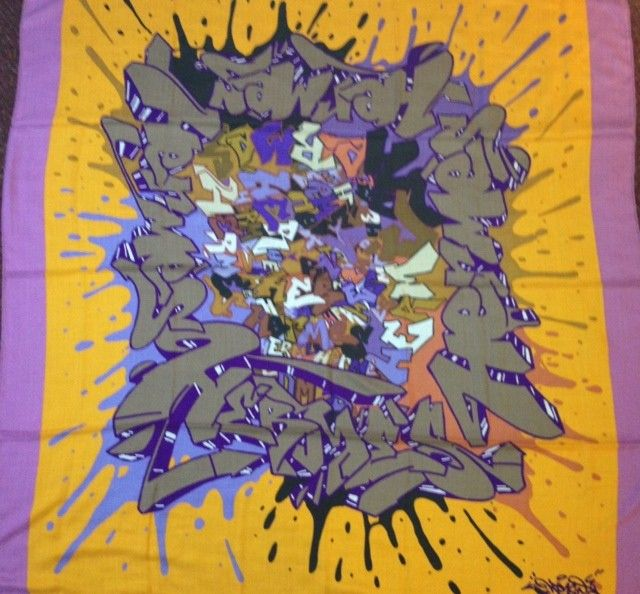 """Hermès Cashmere GM Shawl """"Graff"""" or """"Graffiti"""" in Lilac & Orange  by Cyril Phan - """"Graff"""" GM Grand Modèle Cashmere Shawl  The house collaborated with a graffiti artist known as """"Kongo"""" whose real name is Cyril Phan.  This design represents quite a departure from anything the Hermès has ever done.  Moreover, this is one of those exceedingly rare shawls where the title of the design does not appear on the scarf itself. It is officially titled, """"Graff"""" but is also known as, """"Graffiti.""""  This is…"""