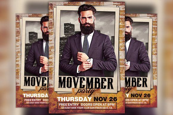 Movember Party Flyer Template by Flyermind on @creativemarket