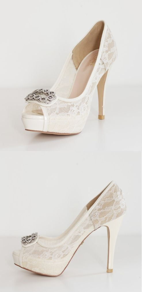 High Heels Fish Toe Ivory Lace Sexy Wedding Bridal Shoes With Tow, S021#okbridal#weddingshoes