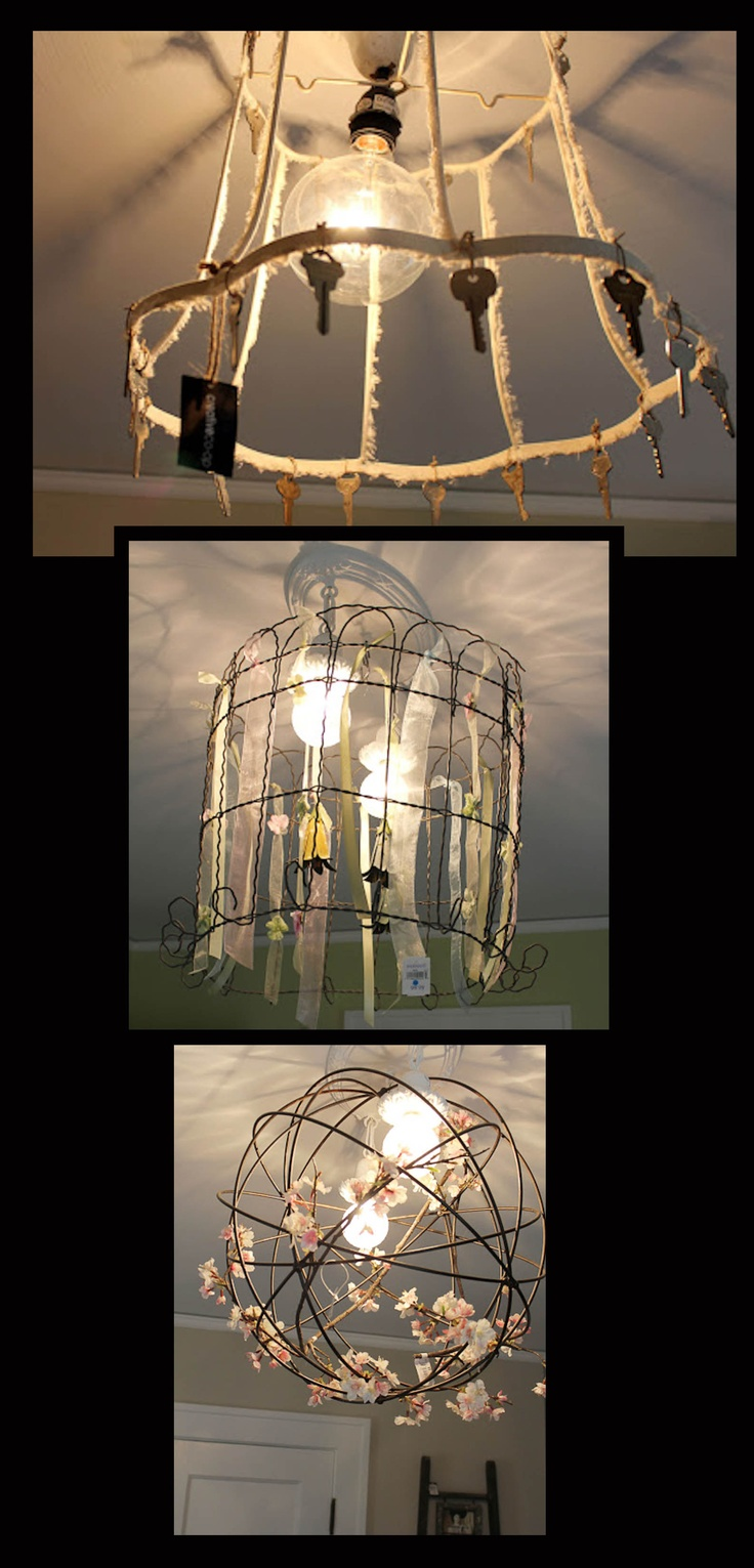 24 best lamp shade frame ideas images on pinterest lampshades diy repurposed light fixtures an old lamp shade frame some wire garden fencing greentooth Choice Image