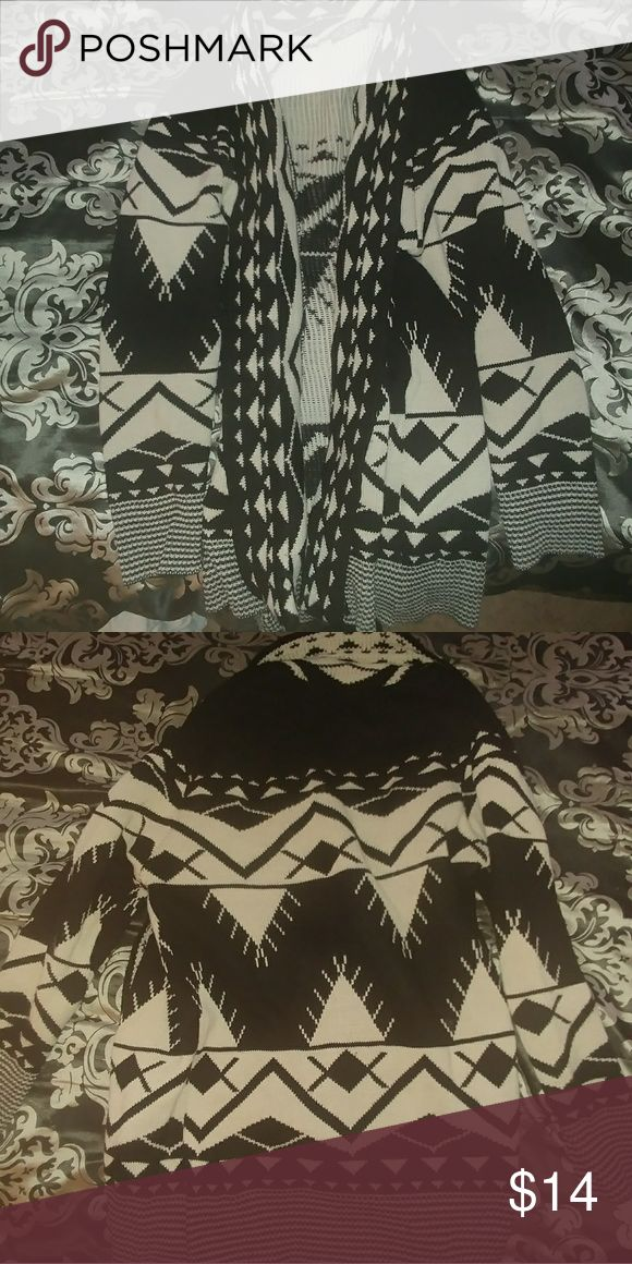 Black and white Tribal print cardigan Tribal print black and white cardigan with fold over front Sweaters Cardigans