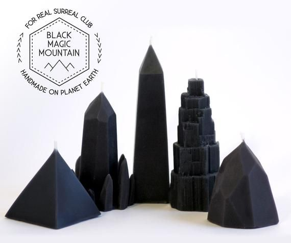Black Cedar Wood scented Black Magic Mountain Beeswax Candles Complete set / 5 Crystal Candles / Qua