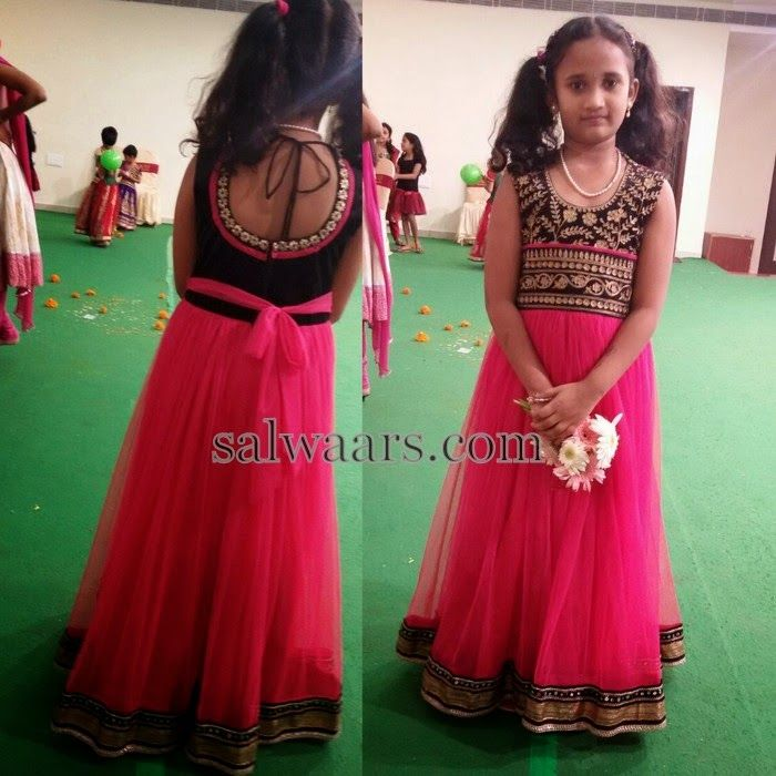 Baby in Pink Long Frock | Indian Dresses