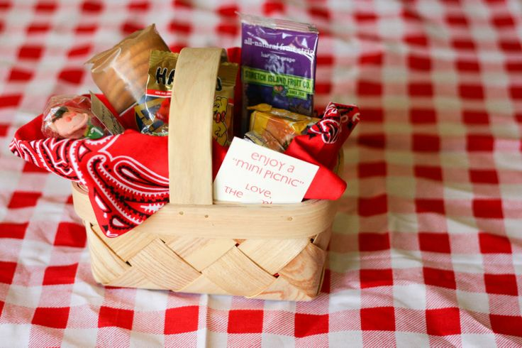 Host a mini picnic party for your child and invite a few friends!  This is a link to the site, life's a picnic.  She has some WONDERFUL ideas!  The picture above is for some ideas of what to put in the mini picnic favor baskets.  :)