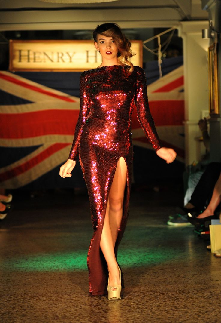 Burgundy AND sequins slit to the thigh? A winner in my book