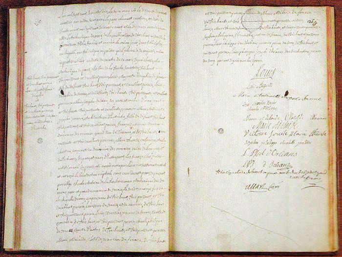 Marriage contract with the signatures of Louis XV, the Dauphin - marriage contract