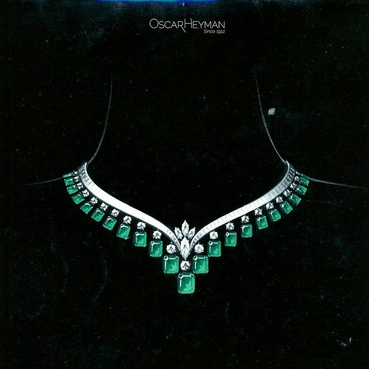 Repost @oscarheyman Elegant emerald and diamond V necklace from our #archive. Circa 1964? Painted on black for drama. #OscarHeyman