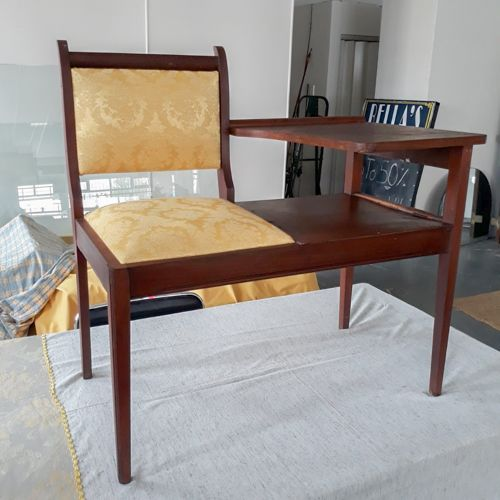 Adorable Mid-century telephone bench/table: beautiful design, beautiful French yellow upholstery, sturdy, some blemishes R1400 includes delivery to door!