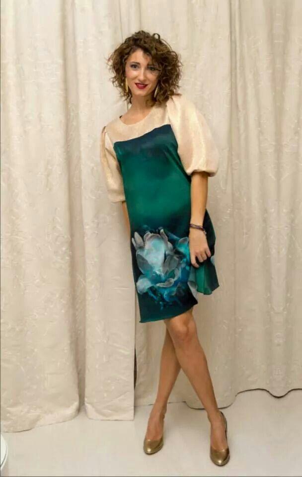 Rochie tricot de bumbac cu imprimeu 3D, maneci si platca din lame TD1202  Marime S-M  Pret 185 lei