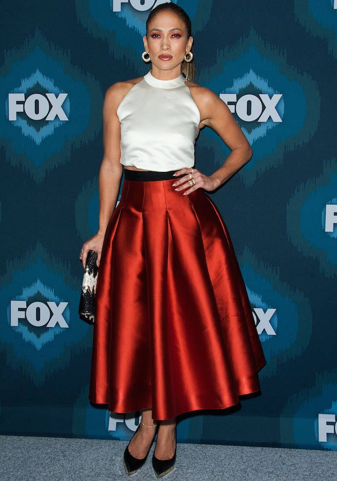 Jennifer Lopez Wowed In Red-Orange Midi Skirt, Get The Look For Less!
