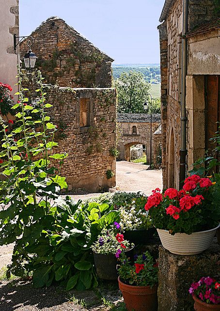 "French quaint village in movie ""Chocolat"" Flavigny sur Ozerain, Burgundy, France"