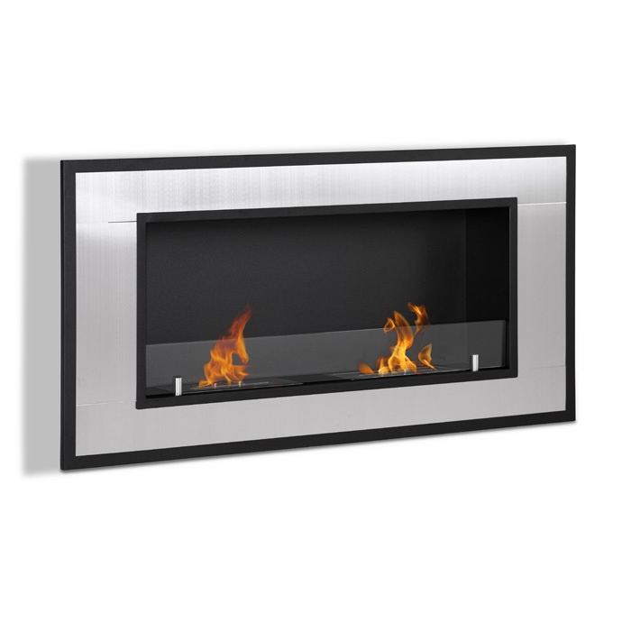 Raiden Wall Mount Fireplace with Double Burners in Stainless Steel