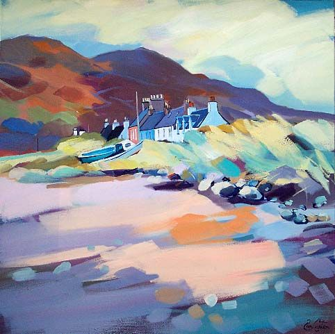 "Pam Carter - Highland Row (Dornie)  Oil  32"" x 32"""