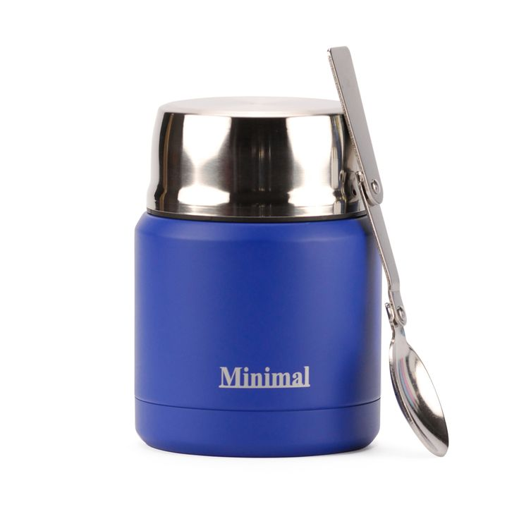 Minimal Insulated Food Jar 360ml Blue with foldable spoon and snack compartment