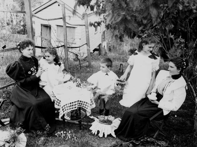 Tea in the garden, Brisbane, c. 1890.