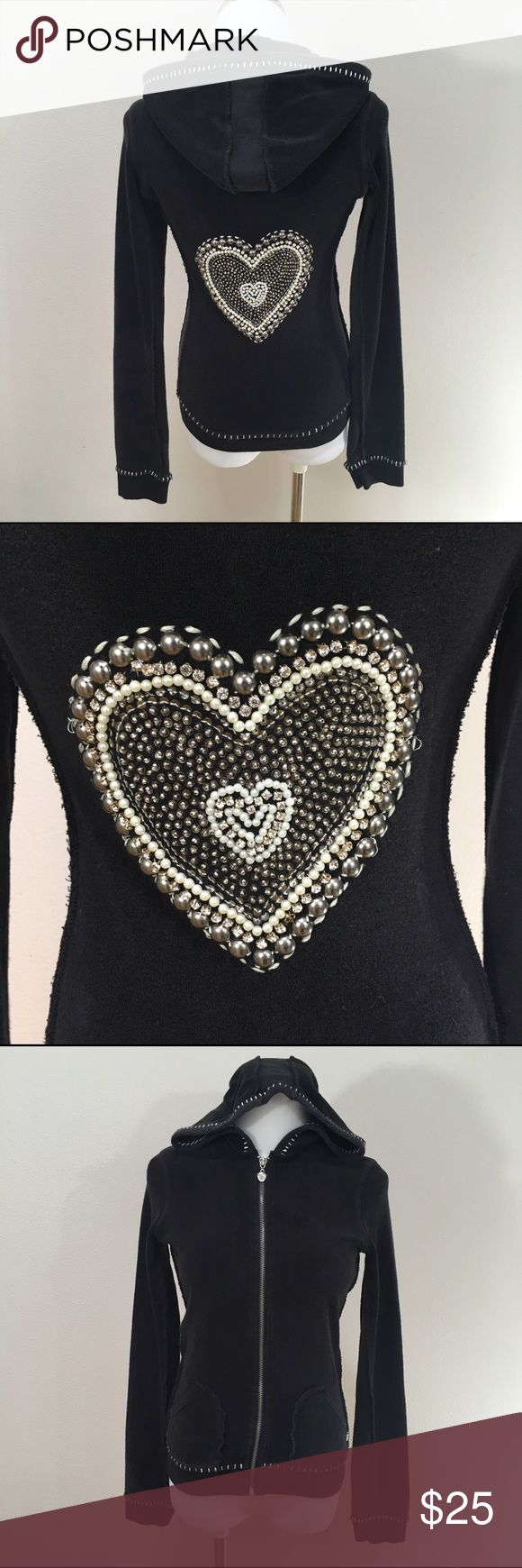 Twisted Heart Black Heart Embellished Hoodie Twisted Heart Black Heart Embellished Terry Cloth Zip Up Hoodie Petite. Excellent condition. No missing embellishments. Clean and comes from smoke free home. Questions welcomed! TWISTED HEART Tops Sweatshirts & Hoodies