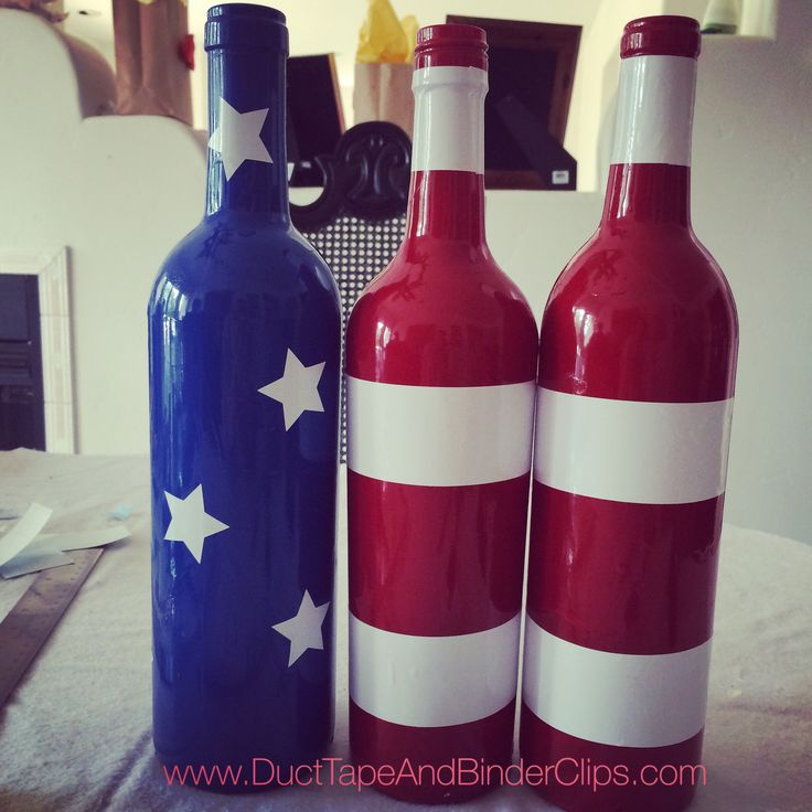 4th of July Flag Decorated Wine Bottles