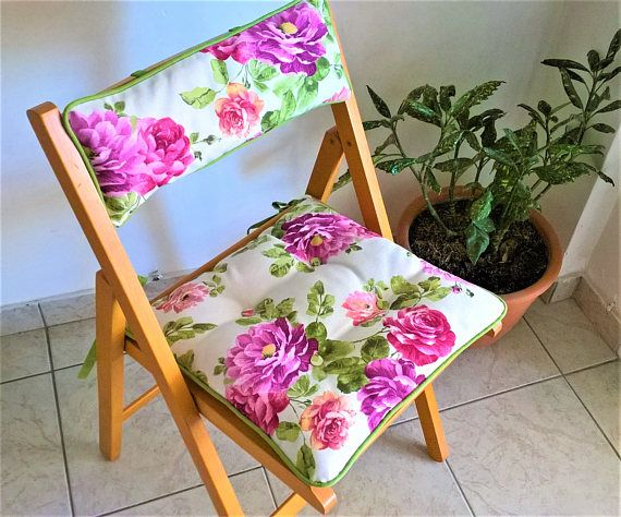 Floral chair cushion with ties chair cushion with back